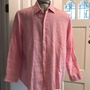 Tasso Elba pink linen button down shirt XL long sl
